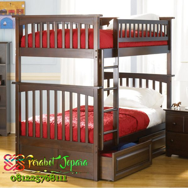 Tempat tidur anak susun kayu jati